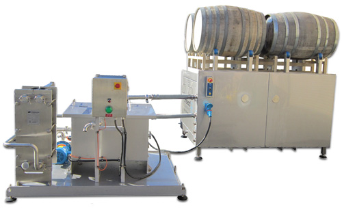 Water saving solution for wine barrel washing